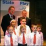Howard Goodall, Alan Johnson and some primary pupils at State of Play 2007