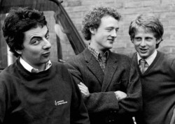 Howard Goodall, Rowan Atkinson and Richard Curtis in 1980